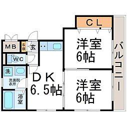 スカイハイツ潮江[3階]の間取り