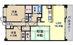 プレリオン豊中・中桜塚[603号室]の間取り