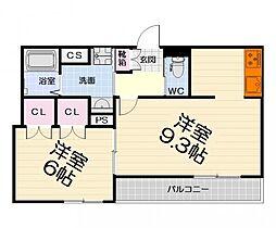 南海線 高石駅 徒歩4分の賃貸マンション 4階1LDKの間取り