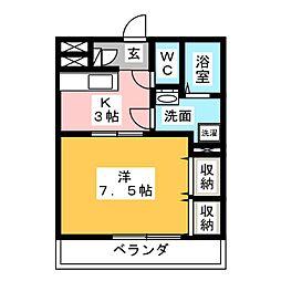 ピアーチェII(ピアーチェ デゥーエ)[3階]の間取り