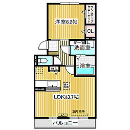 愛知県名古屋市港区正徳町3丁目の賃貸アパートの間取り