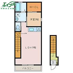 近鉄名古屋線 伊勢朝日駅 徒歩36分の賃貸アパート 2階1LDKの間取り