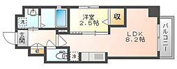 岡山電気軌道清輝橋線 東中央町駅 徒歩4分の賃貸マンション 6階1LDKの間取り