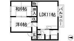 兵庫県川西市清和台東2丁目の賃貸アパートの間取り