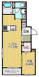 Yellow Parrot (イエローパロット) 1階1LDKの間取り