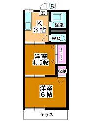 コーポ富士見野[102号室]の間取り