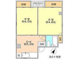 シュロス駒場 3階2DKの間取り