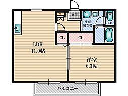 ソレジオ1号館[2階]の間取り