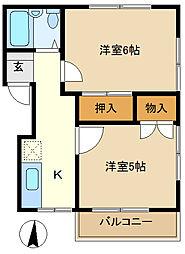早川コーポ 201[2階]の間取り