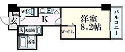 JR東海道・山陽本線 甲南山手駅 徒歩4分の賃貸マンション 7階1Kの間取り