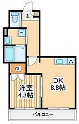 エバーグリーンフォレスト 2階1DKの間取り