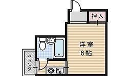 シャトー西田辺[203号室]の間取り