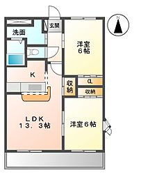 愛知県長久手市段の上の賃貸アパートの間取り
