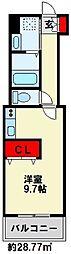 カーサナーシサス 2階ワンルームの間取り