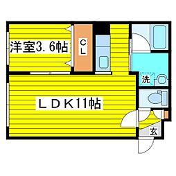 SS VI 4階1LDKの間取り