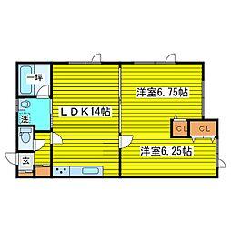 北海道札幌市東区東苗穂三条1丁目の賃貸アパート 1階2LDKの間取り