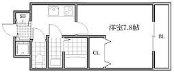 Osaka Metro御堂筋線 大国町駅 徒歩7分の賃貸マンション 6階1Kの間取り