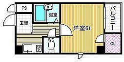 タカノハイム天神橋[7階]の間取り