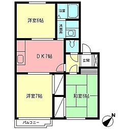 神奈川県厚木市岡田5丁目の賃貸アパートの間取り