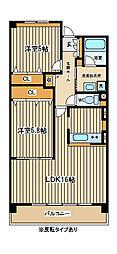 東京都府中市白糸台4丁目の賃貸マンションの間取り