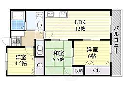 JR東海道・山陽本線 千里丘駅 徒歩15分の賃貸マンション 1階3LDKの間取り