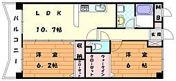 福岡県宗像市田熊3丁目の賃貸マンションの間取り