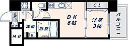 オリエンテム 12階1DKの間取り
