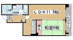 HAT神戸・灘の浜3号棟[11階]の間取り