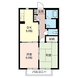 MASTクレスト参番館202号室[2階]の間取り
