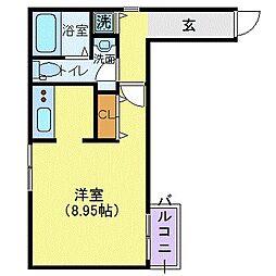東京メトロ銀座線 青山一丁目駅 徒歩8分の賃貸マンション 3階1Kの間取り