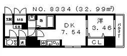 プレステージレジデンス谷町[1315号室号室]の間取り
