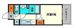 グランカリテ大阪城EAST 9階1Kの間取り