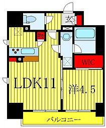 テラス文京本郷 6階1LDKの間取り