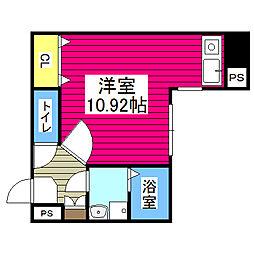 仙台市地下鉄東西線 青葉通一番町駅 徒歩3分の賃貸マンション 5階ワンルームの間取り