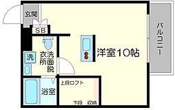 コスモクレスト柴島 2階ワンルームの間取り