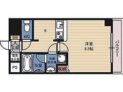 関目タウンビル 7階ワンルームの間取り