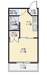 ポートハイツ成田[202号室]の間取り