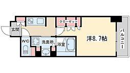 JR東西線 北新地駅 徒歩4分の賃貸マンション 12階1Kの間取り