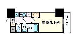 Osaka Metro中央線 阿波座駅 徒歩1分の賃貸マンション 2階1Kの間取り