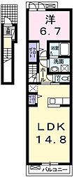 埼玉県越谷市相模町2丁目の賃貸アパートの間取り