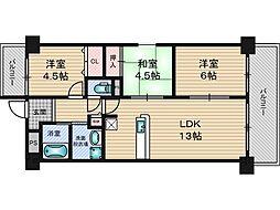 生島リバーサイドマンション D棟[6階]の間取り
