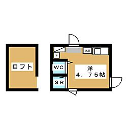 フレシール笹塚B 3階ワンルームの間取り