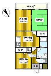 神奈川県横浜市鶴見区東寺尾3丁目の賃貸マンションの間取り