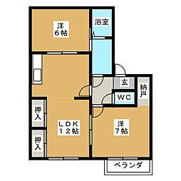 メゾンパークス B[2階]の間取り