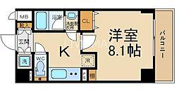 ベラジオ京都西院ウエストシティIII 6階1Kの間取り