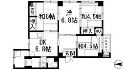 兵庫県宝塚市宝松苑の賃貸マンションの間取り