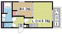 兵庫県神戸市長田区久保町8丁目の賃貸アパートの間取り