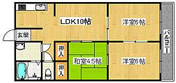 南堺ハイツ1号館[4階]の間取り