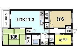シャトー三島 2階2LDKの間取り