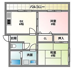 大阪府門真市上野口町の賃貸アパートの間取り